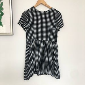 Short sleeve gingham mini dress